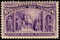 US Stamp Gallery >> Columbus Welcomed at Barcelona