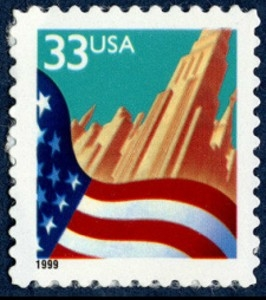 US Stamp Gallery >> Flag & city