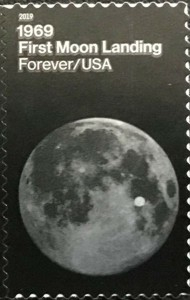 US Stamp Gallery >> Moon showing astronaut landing spot