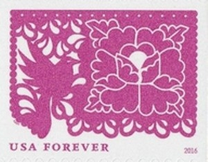 www.usstampgallery.com >> US Postage Stamp >> Rose Pink Bird and Flowers